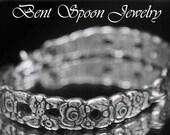 Spoon Bracelet, Spoon Jewelry, Silverware Jewelry, Vintage Wedding, Antique Bracelet, 1970 Silver Valentine