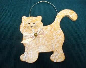 Personalized Wood Christmas Ornament - Whiskers (Tan)