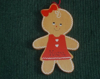 Personalized Wood Christmas Ornament - Gingerbread Girl