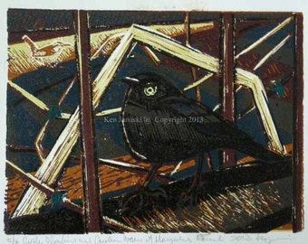 RustyBlackbird and Carolina Wren at Manayunk Canal Reduction LInocut