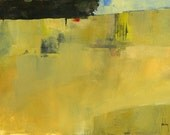 Original minimalist abstract landscape painting - Ochre harvest