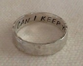 Rustic Hammered Sterling Silver Personalized Ring Band for Him  Custom.Secret Inside Message. Men's Ring