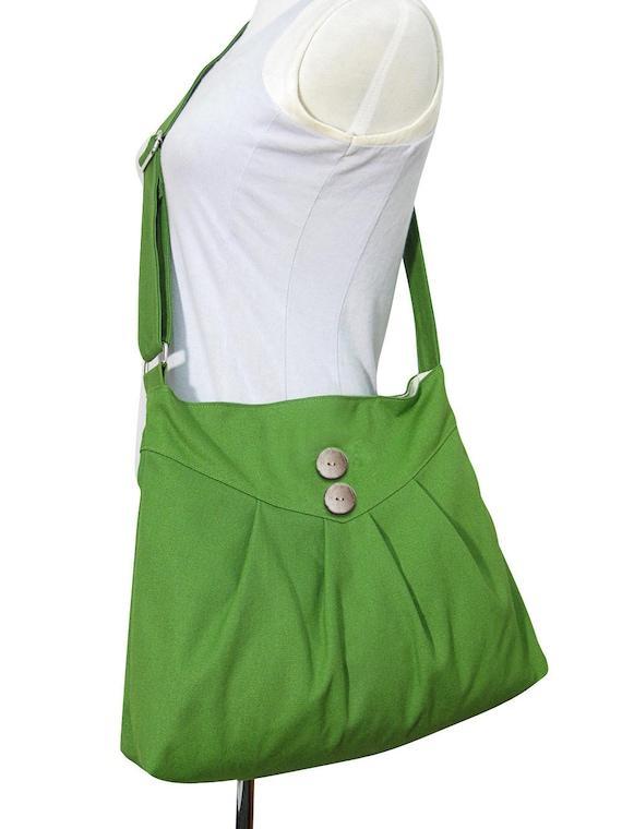 messenger bag / shoulder bag / cross body bag / diaper bag  - green cotton canvas