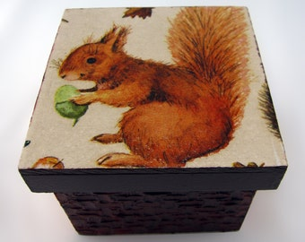 Jewelry box for keepsakes, wooden jewelry box with textures and decoupage on the lid and sides, decorative jewelry box wood
