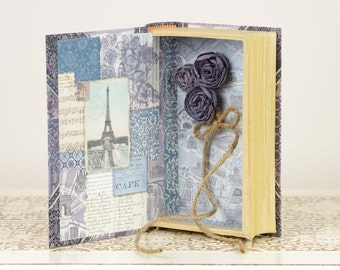 Paris Wedding - Ring Bearer Book with Blue, Silver and Ivory details