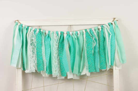 Mint Green Rag Banner for Wedding - Garland - Bunting - Sign for Wedding