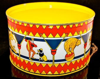 """Vintage Childrens Toy Drum Circus Clowns Animals Tigers Elephants Tin Can Made in Canada 9.25"""""""