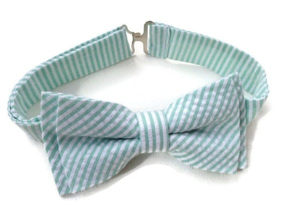 Mint Bow Tie for Men or Boys / Mint Seersucker