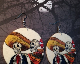 Day Of The Dead (Dia De Los Muertos) Sugar Skull Couple Earrings