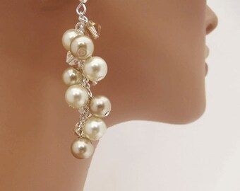 Champagne Pearl Earrings with Ivory Pearls, Swarovski Crystal Pearl Earrings, Bridal Pearl Earrings, Bridesmaid Earrings