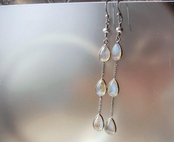 Sterling Silver Gray Pearl Labradorite Teardrops Dangle Earrings