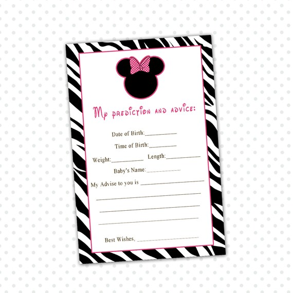 INSTANT DOWNLOAD Minnie Mouse Baby Shower Advice Baby Card - Zebra ...