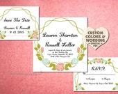 Printable Wedding Invitation Suite Pdf Floral Template DIY Elegant Rustic Country Spring Summer Cheap Invitation Set Online Budget Kit Theme