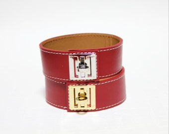 New Equestrian Buckle Ornament Leather Bracelet(RED)