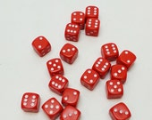 20 Vintage Fun RED Plastic Dice measuring 1/2 inch by 1/2 inch square.