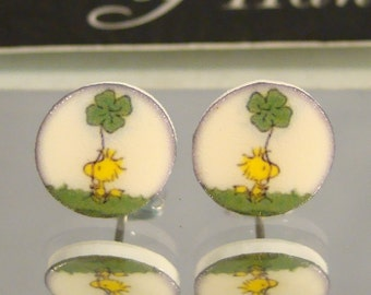 Woodstock green clover stud earrings - St. Patrick's Day