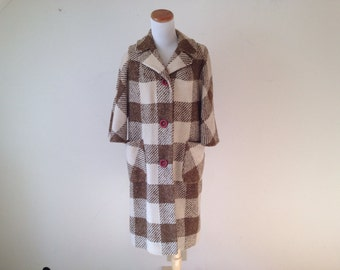 1960s Brown and Ivory Plaid Jacket M