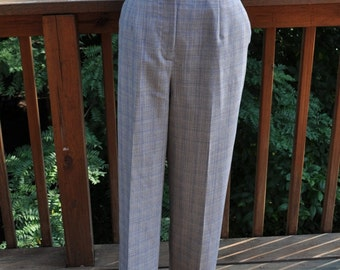 Vintage 1990s Pendleton pants, Plaid wool slacks, Petite suit trousers, Classic Blue suit, Size 10, Straight cut