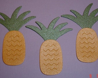 6 Spiky Pineapple Embellishment Die Cuts for Cards Scrapbooking and Paper Crafts Paper Pineapples