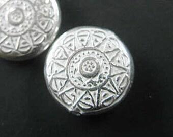 1 of Karen Hill Tribe Silver Flower Imprint  Circle Bead 17.5 mm. :ka3626