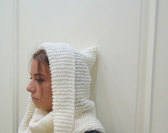 Knit Hooded Hat,chunky Pixie Hat,Chunky Hood Cowl,Super Soft Knitted Hood Cowl ,Woman Chunky Hood  white hooded hat scarf