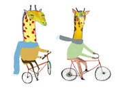 Giraffe's Biking. Illustration art print. Gorilla, Tiger and Giraffe on bikes :)
