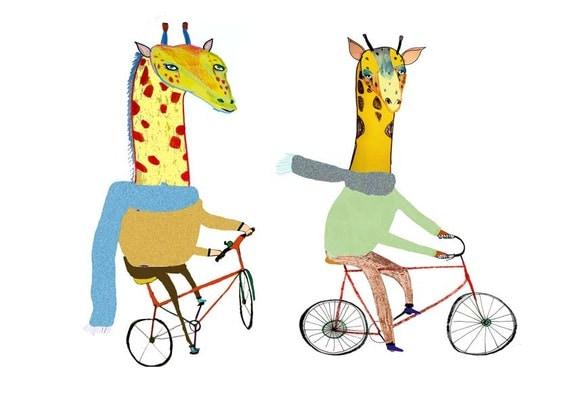 Giraffe's Biking. Illustration art print. Gorilla, Tiger and Giraffe on bikes :)