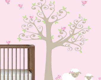 Nursery Tree Decal with Lambs,Birds-Vinyl Wall Decals Stickers-e88