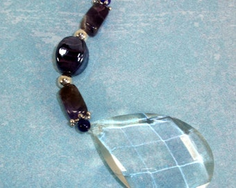 Suncatcher Vintage Chandelier Crystal with Purple Amethyst and Purple Striped Beads FREE Shipping