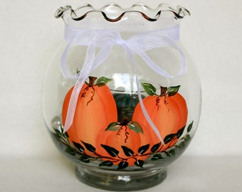 Hand Painted Ivy Bowl Candle Holder, Pumpkins