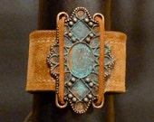 MORROCO  Rust Re purposed Suede Bracelet Copper and Patina Metal Center - TheWristbandit
