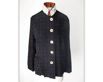 vtg VOYAGE UK - Wool JACKET with Lace, Sequins & Pearls