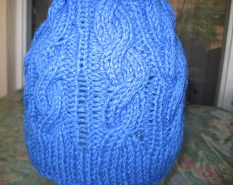 Hanukkah Womens Hand /Knitted Blue Hat with Star of David Pin