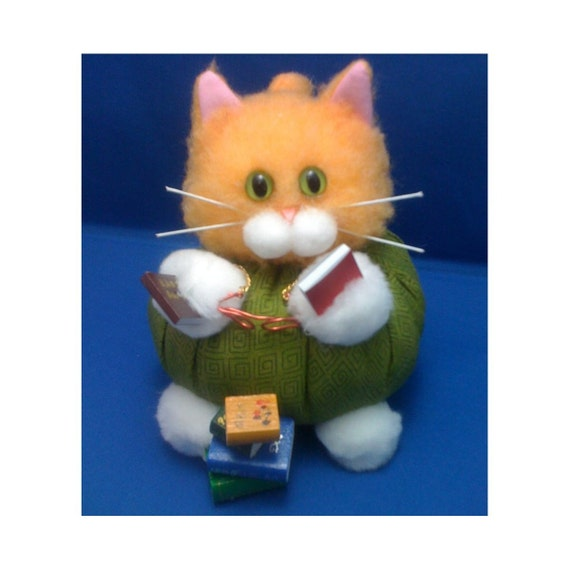 Paige Turner - Librarian Career Cat Purrsonality - Fiber Art Collectible 47