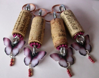 Wine Cork Keychains group of four Butterfly themed charms for you and your friends