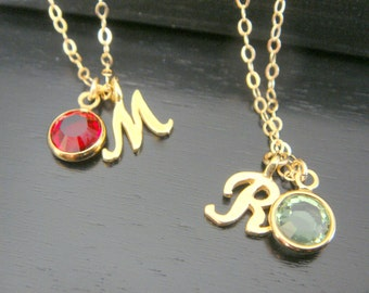 Gold Vermeil Initial Necklace, Script Initial Necklace, Alphabet Letter Charm Necklace, Customed Birthstone necklace, Name Necklace
