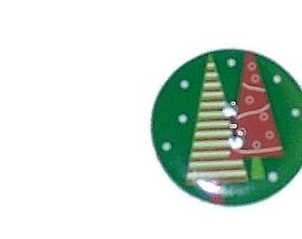 Round Christmas Tree Buttons... Set of 2