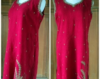 Vintage Beaded Dress India Crinkle Hippie Jumper Boho Festival Ethnic Rhinestones 40B