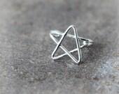 Simple Star Ear Cuff in sterling silver