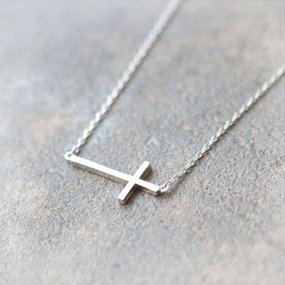 Sideways Cross Necklace in silver