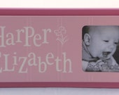Flower Nursery Pink Personalized Baby Nursery Picture Frames, Baby Girl Nursery Decor Photo Frame Custom Order Baby Gifts