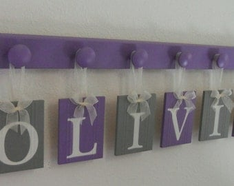 Hanging Nursery Letters, Gray, Purple and White Nursery Letters, Baby Girl Nursery, Nursery Decor, Nursery Wall Letters 6 Lilac Pegs, OLIVIA