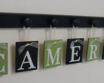 Alphabet Wooden Letters | Set Includes Peg Display and Babies Name Painted Light Green and Navy Blue | Baby Boy Room Wall Decor
