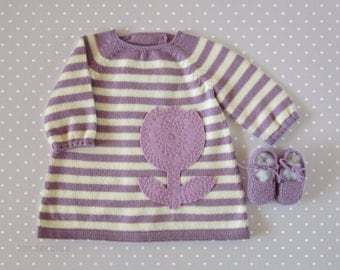 knitted striped baby dress, shoes, in lilac and pearl, with a felt flower. READY TO SHIP size 1-3 months.