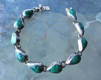 50s Vintage Mid Century Modern  Malachite Sterling Bracelet