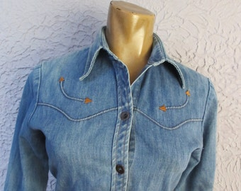 70's Vintage Denim Hippie Western Shirt medium