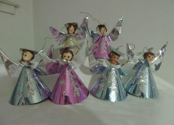 Vintage Foil Angel Ornaments Handmade Angel By