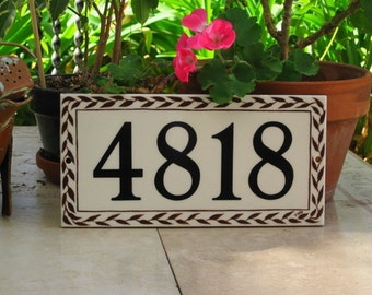 BROWN or BLACK LEAF Pattern Cream/not quite white Tile House Number  House Numbers Address Numbers Address Sign