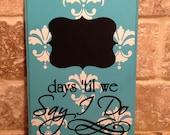 Something Blue Damask Wedding Chalkboard Countdown Calendar (Made to Order)