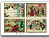 Christmas PostCards Antique In July Holidays Collage Sheet Father Santa Claus for DIY Cards Tags Old Shabby Chic Decoupage Ephemera 358